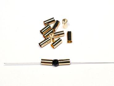 Röhrchen Verbinder Metall 10x5mm Gold, 20 Stück #Z321