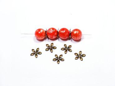 Filigrane Perlkappen Perlenkappen, Spacer, Messing 15x2mm, 30 Stück #A00332 – Bild 2