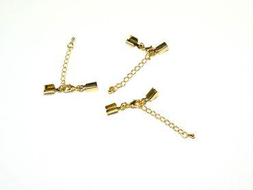 Verlängerungskette Zwischenkette mit Karabiner, für Bänder, Gold, 75mm, 3 Stück #Z119