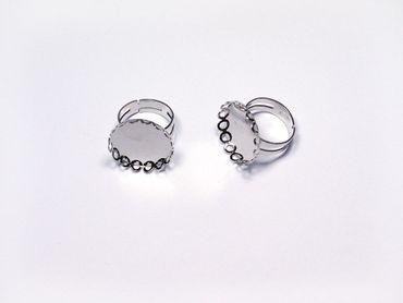 Ringrohling für Cabochons 17mm Silber, 2 Stück #U100-03