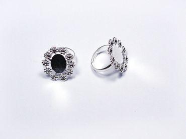 Ringrohling für Cabochons 18mm Silber, 2 Stück #U100-01