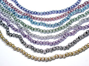 Großlochperlen Aluminium Perlen Rund Königsblau, 10 Stück #A22-1 – Bild 1