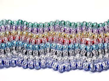 Großlochperlen Aluminium Perlen Rund Königsblau, 10 Stück #A23-1 – Bild 1