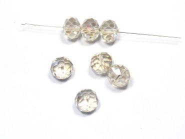 Glasschliffperlen, Glasperlen, 14x10mm, facettiert, silk AB, 10 Stück #G9/7