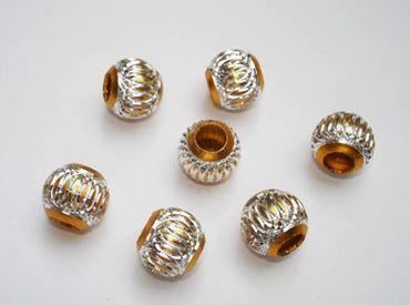 Großlochperlen Aluminium Perlen rund, 5 Stück #A20 – Bild 4