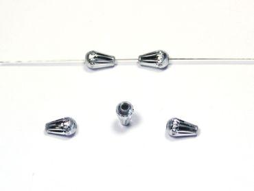Großlochperlen Aluminium Perlen Tropfen Silber, 5 Stück #A28 – Bild 1