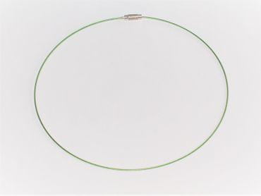 Edelstahlcollier - Collier - Halsreif 45cm, Grün, OS7