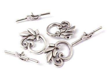 Knebelschluss Verschluss Toggle Bar silber, 2 Stück #Z111 – Bild 1