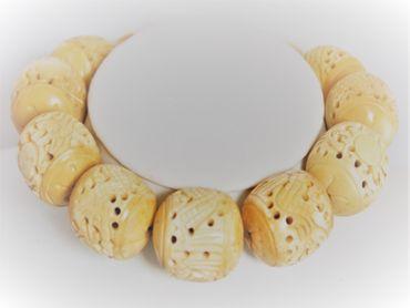 Geschnitzte Bone Knochenperle oval 35x26 Naturperle #KNO-VA – Bild 4