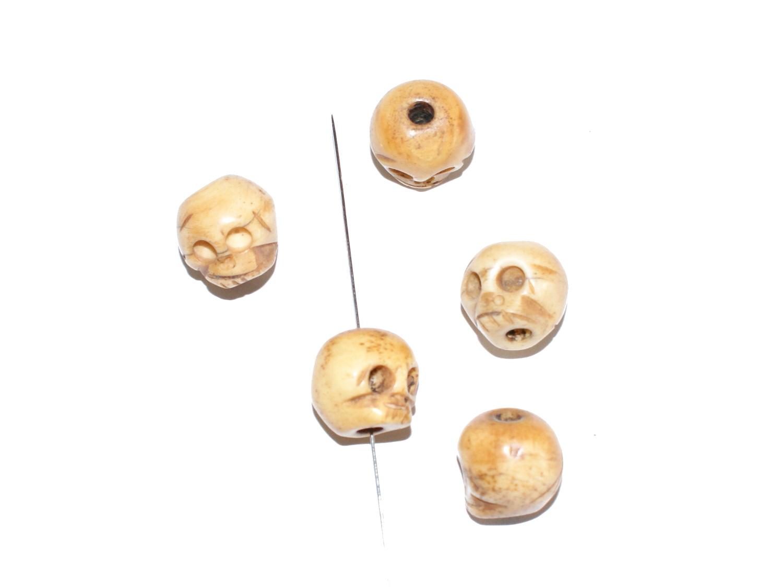 Knochen Perlen Bone Totenkopf Skull Schädel 13x15mm Haloween 3 Stck ...