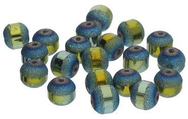 Glasperlen galvanisiert 9mm Petrol AB Beads DIY 20 Stück #G604-20 – Bild 1