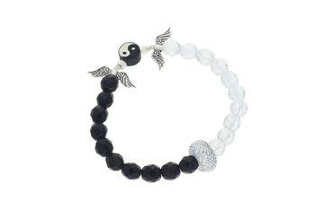 Schmuck Set, Bastel Set für Armband DIY, mit Glas Perlen und Metallelementen Yin Yang ARM1 – Bild 1