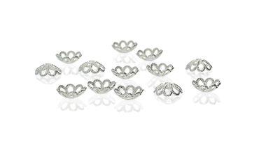 40 Stück filigrane Perlenkappen, 8mm, Silber  #A24637 – Bild 1