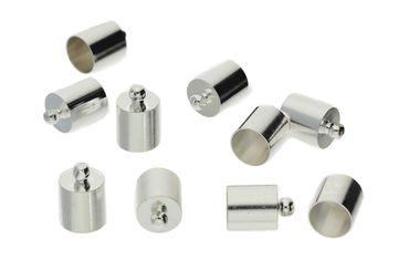 Endkappen Endhülse Hülsen Kappe für Bänder Silber, 10 Stück