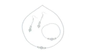 Brautschmuck Hochzeit Swarovski Perlen Schmuckset Collier Armband Ohrhaken DIY Weiß#HO1-W