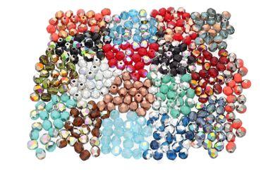 360 STK. 18 Farben, Tschechische Facettierte Glasperlen, Fire-Polished, rund, 6mm – Bild 1
