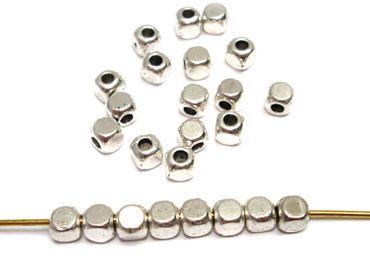 Metallperlen, Würfel / Kubus, 4mm, Silber, 20 Stück #A22202