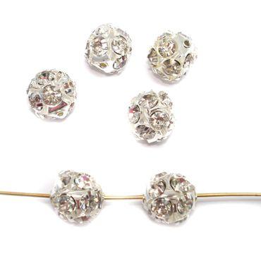 Strassperlen Kristall, Glitzer Disco Kugel, 12mm, Silber, 2 Stück #A01580