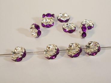 Strass Rondelle Violett / Silber 8mm, 5 Stück #A09000