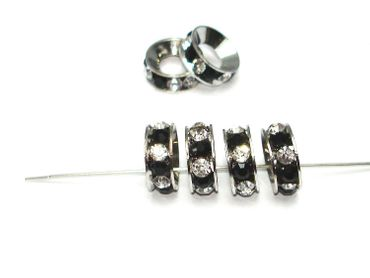 Strass Rondelle, Spacer, Beads, 14mm, Schwarz / Kristall #A08811