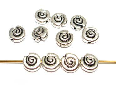 Metallperlen, Schnecke, 10mm, Silber, 10 Stück #A20752