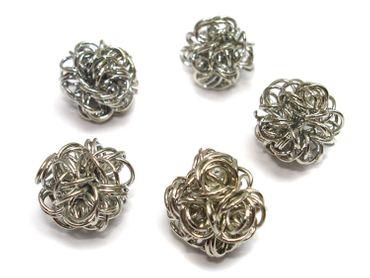 Drahtperlen, Wickelperlen, 10mm, Silber, 5 Stück #A22887