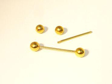 Wechselstab für Wechselring, Kugel, Gold #SC32