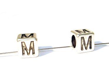 Buchstaben Alphabet Metallperlen, M 7x7mm, 2 Stück #U167