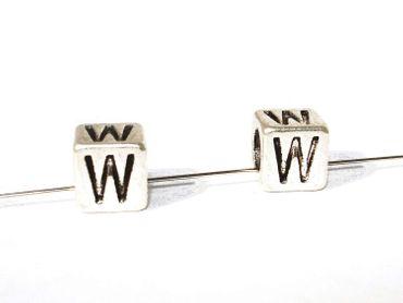 Metallperlen Buchstaben W, 7x7mm, 2 Stück #U167 – Bild 1