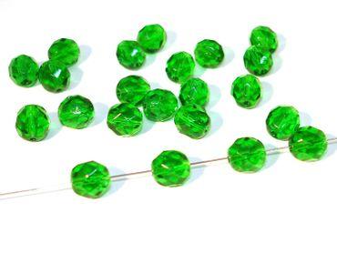 Facettierte Glasperlen, 8mm, Emerald, 10 Stück #G26