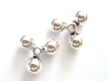 Große massive Metall Perlen Kugel Zwischenteil Silber, 2 Stück #U201