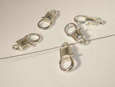 Schmuck Karabiner Verschluss 27x13mm Silber, 2 Stück #A06357 – Bild 1