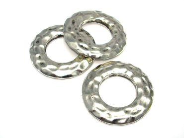 Metall Perle Ring Verbinder gepunzt 42mm Silber #U189