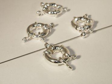 Federring Verschluss mit 2 Ösen, 15mm, Silber, 2 Stück #A08400