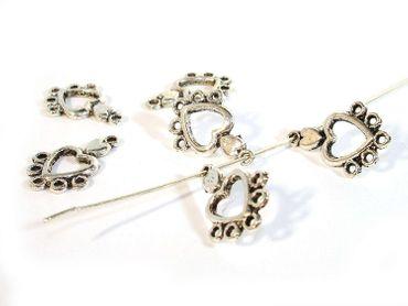 Charms Anhänger Ohrhänger 19x13mm Silber, 10 Stück #A00411