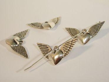 Charms Anhänger, Herz, 35x18mm, Silber, 2 Stück #A05565