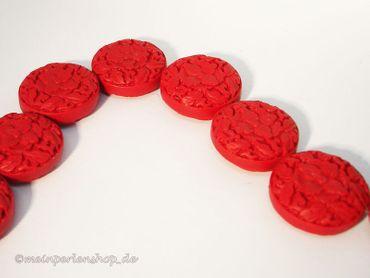 Geschnitzte Chinesische Lackperlen, Cinnabar, rund, 31mm, Zinnober rot, 2 Stück #ED55P