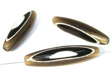 Acrylperle - Künstlerperle Olive Silbergrau 55x15mm #K331