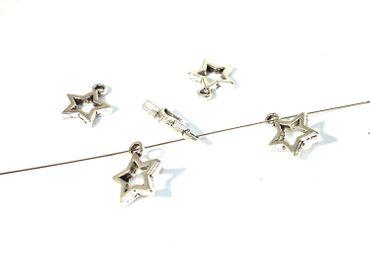 Anhänger, Charms, Metallperlen, Stern, Silber, 10 Stück #U99