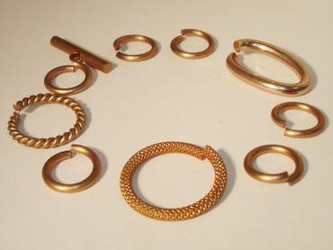 Verbinder Ringe Knebel Verschluss Mix Set 10 teilig 14-27mm  bronze#L38