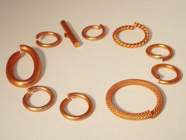Verbinder Ringe Knebel Verschluss Mix Set 10 teilig 14-27mm lachs #L46