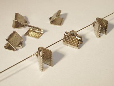 Klemmbleche f Band + Wechselschmuck 8mm Silber, 6 Stück #Z129