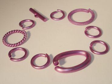 Verbinder Ringe Knebel Verschluss Mix Set 10 teilig 14-27mm  violett #L41