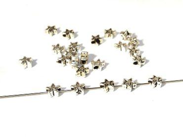 Metallperlen, Tibet, Stern, 5mm, Silber, 20 Stück #A00393