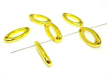 Perlen, Ring Oval, Verbinder, Metalloptik, Gold, 10 Stück #U153