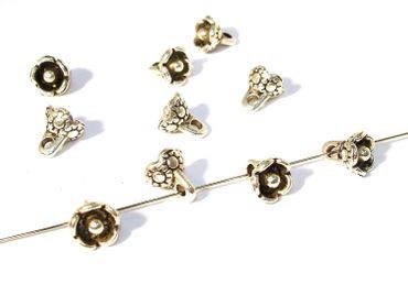 Metallperlen Blüten, 5 Stück #U31