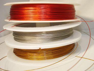 Schmuckdraht Stahlseide Schmuckdraht, MIX Gold-Silber-Kupfer, 15 Meter #SDMIX
