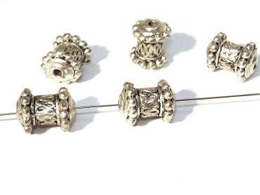 Metallperlen Walze 11x9mm Silber, 3 Stück #A02190