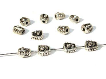 Metallperlen Zwischenperlen 3 D 6x5mm Silber, 10 Stück #A02205
