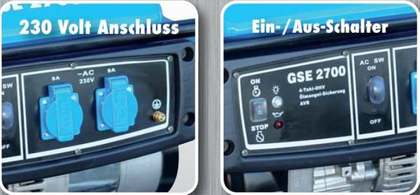 GÜDE Stromerzeuger GSE 2700 40628 Generator 4-Takt-OHV  2 x 230 V 16 A AC NEU – Bild 3